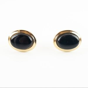 Oval Cabochon Simulated Black Stone Cuff Links